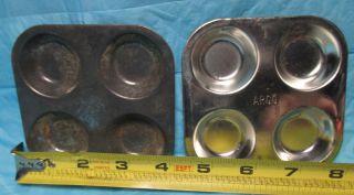 2 Vintage Tin Argo Child Toy Muffin Cupcake Bake Baking Pans 4 Hole Toy Kitchen photo