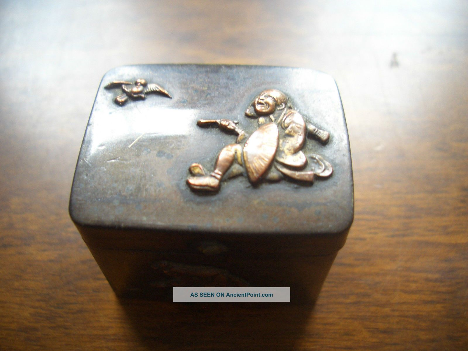 Vintage Oriental Copper Box Bronze Mounted Figares Stunning Collectors Item Boxes photo