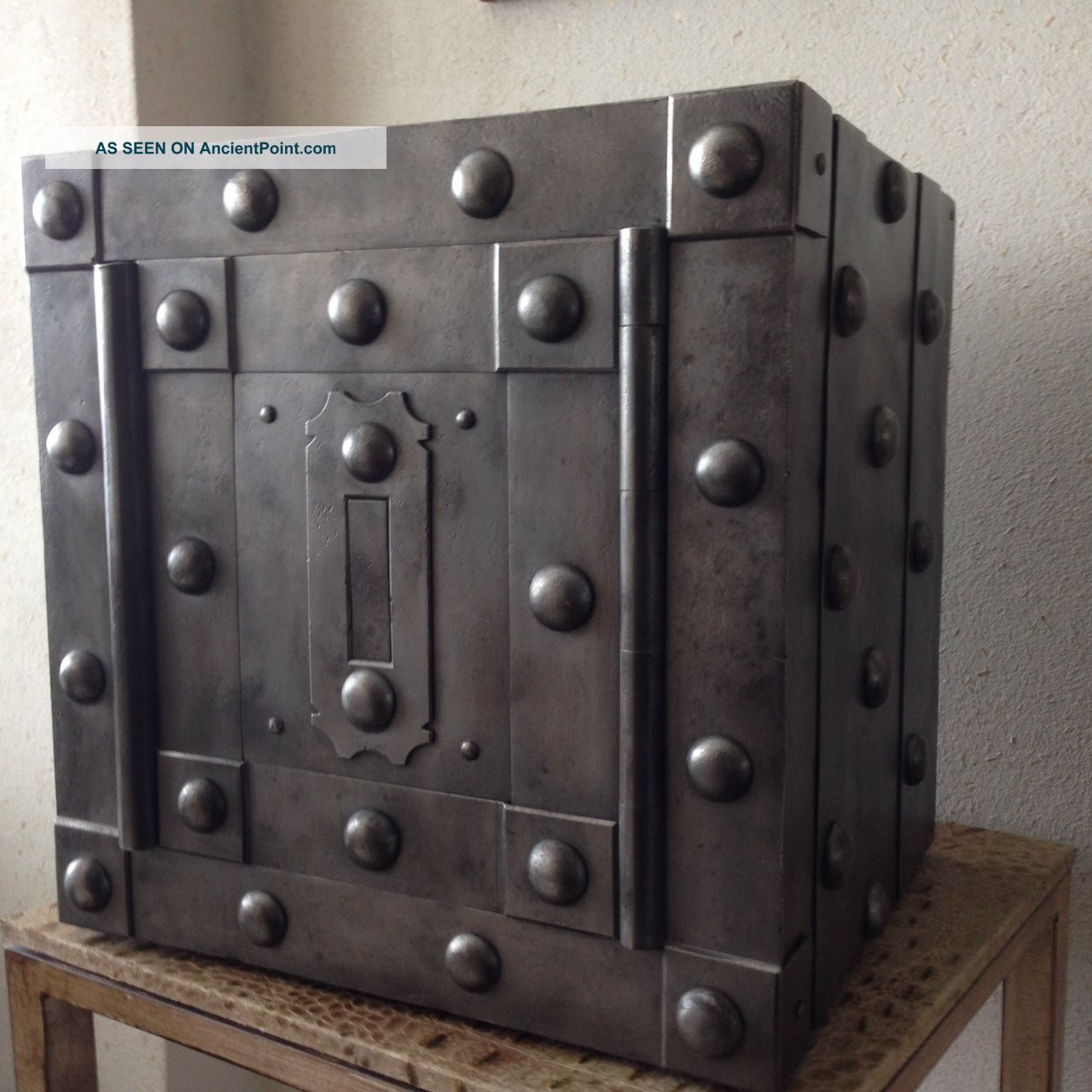 18 Th Century North Italy Wrought Iron Tricky Safe Strong Box Iron Chest Pre-1800 photo
