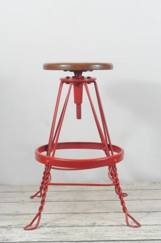 Vintage Twisted Wrought Iron Adjustable Stool Ice Cream Parlor Stool Oak Seat photo
