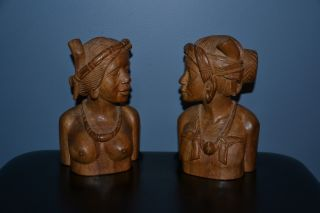 Fine Hand - Carved Wooden Tribal Bust Of Man And Women Philippines 7.  5