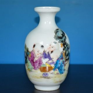 Exquisite Antique Chinese Famille Rose Porcelain Vase Marked Yongzheng Y6014 photo