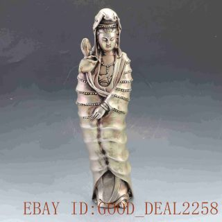 Silver Copper Handwork Carved Lotus Kwan - Yin Statue W Ming Dynasty Xuande Mark photo