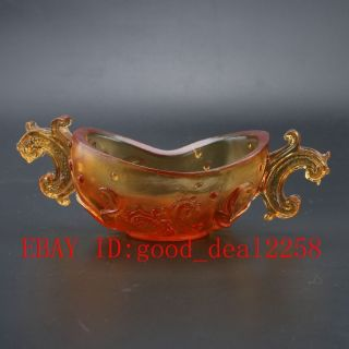 Chinese Coloured(18 - 19th)glaze Hand - Carved Cup photo