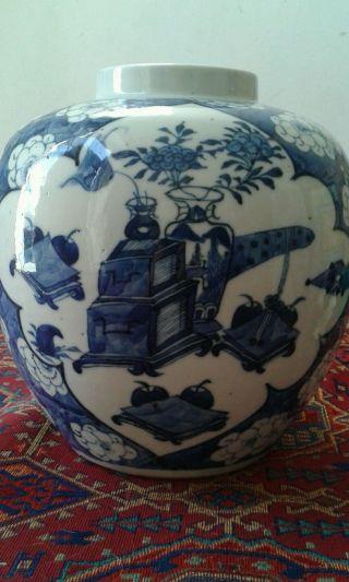 Large Antique Chinese Blue And White Prunus Ginger Jar Kangxi Marks 19th C photo