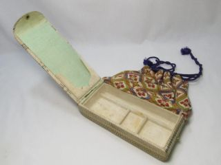 Japanese Antique Silk Kimono Pouch Bags Kinchaku Unique Swing Open Lid W/mark photo