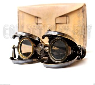 Victorian Brass Leather Binoculars Marine Instrument London Replica Mid Century photo