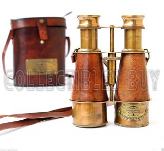 Victorian Brass Leather Binoculars Marine Sailor Instrument 1915 London Replica photo