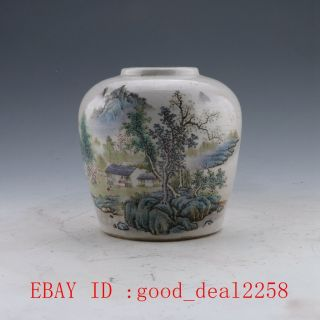 Chinese Famille Rose Porcelain Vase Hand - Painted Mountain Pot W Qing Dynasty photo