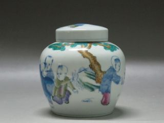 Chinese Blue White Doucai Colors Porcelain Pot Painted Children Playing Chenghua photo