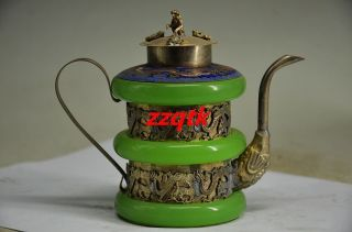 Exquisite Chinese Copper Inlaid Jade Handmade Dragon Flagon photo