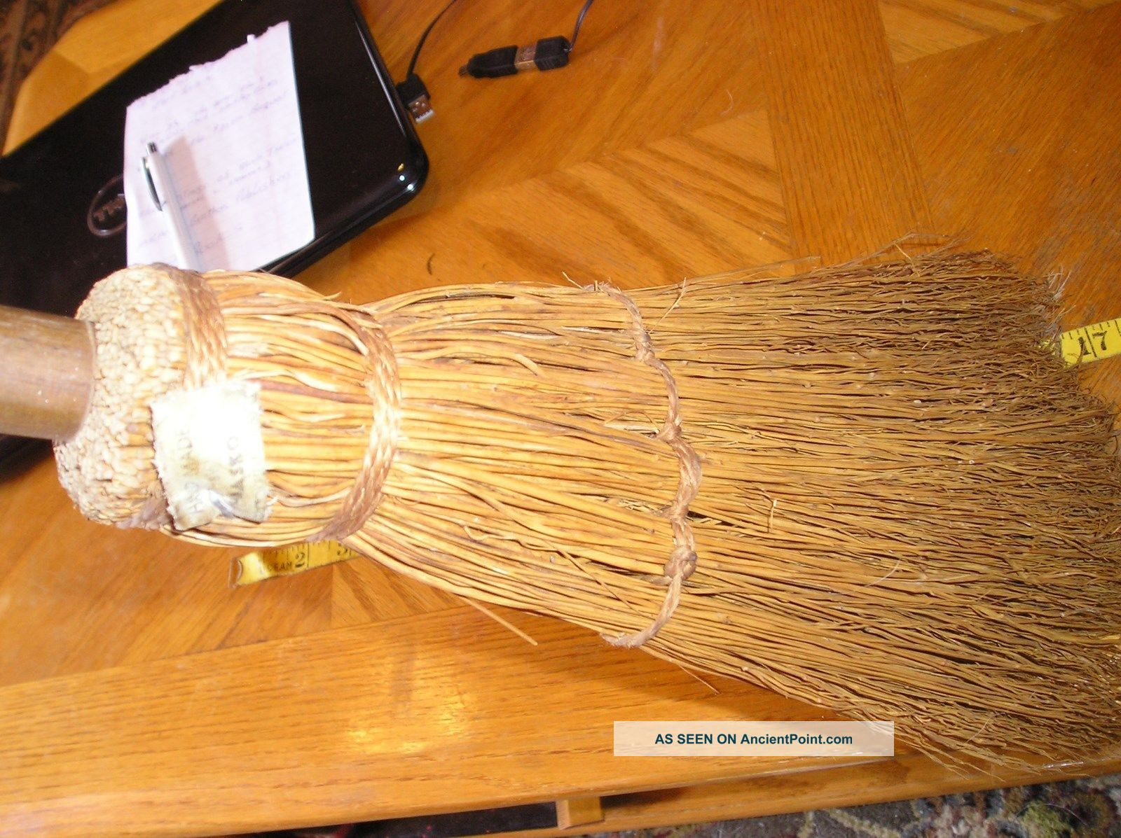 Vintage Whisk Straw Broom Wood Handle Farmhouse Fireplace Hearth,  Primitive Hearth Ware photo