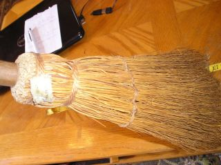 Vintage Whisk Straw Broom Wood Handle Farmhouse Fireplace Hearth,  Primitive photo