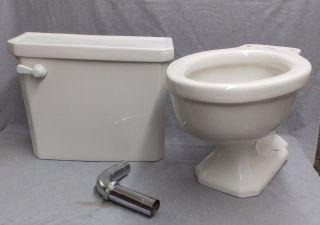 Vintage White Porcelain Complete Toilet Bowl Tank Lid Plumbing Standard 135 - 16 photo