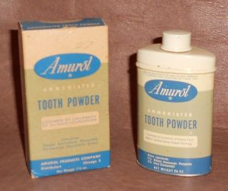 C1935 Vintage Dental Tin Amurol Tooth Powder Tin With Box & Contents photo