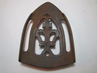 Antique Cast Iron Royal - Crown - Design Trivet Metal Holder photo