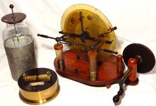 Antique Wimshurst Machine Static Generator Bonus Leyden Jar Scientific Apparatus photo