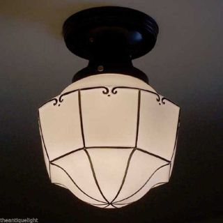 196 Vintage 30s 40s Ceiling Light Lamp Fixture Glass Porch Re - Wired photo