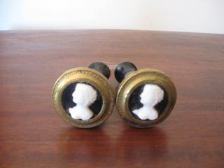 Victorian Figural Pair Curtain Tiebacks 5 Inch Metal Glass Wood photo