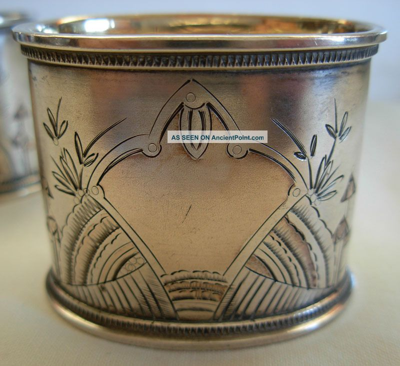 Antique Russian 84 Silver Gilt & Hand Engraved Napkin Rings - 59.  5 Grams Russia photo