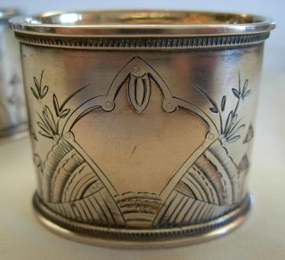 Antique Russian 84 Silver Gilt & Hand Engraved Napkin Rings - 59.  5 Grams photo