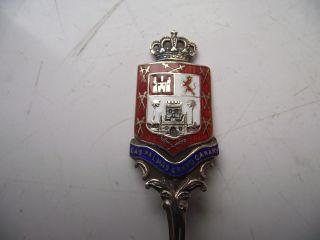 1912 Sterling Silver Hallmarked Spoon Enamel Crest Las Palmas Grand Canary 14.  7g photo