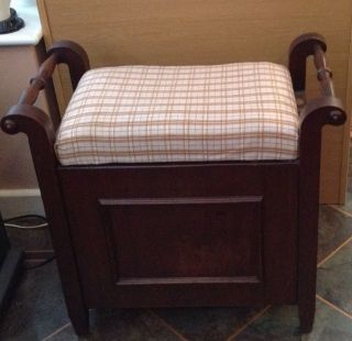 Antique Mahogany Piano Stool With Storage Attractive Check Tapestry Upholstery photo