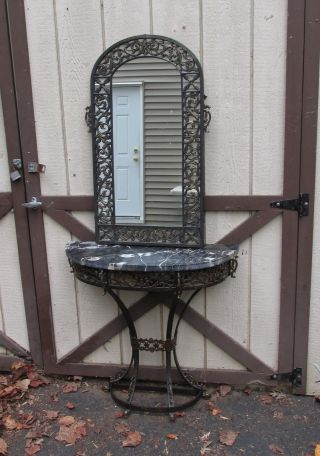 Oscar Bach Iron Bronze And Marble Console With Mirror Art Deco photo