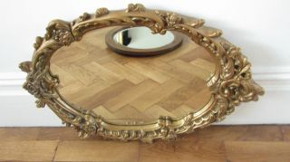 Vintage Quality Old Ornate Hall Mantal Wall Mirror With Heavy Oval Gold photo