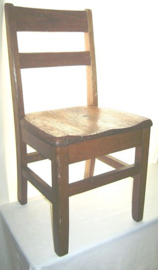Vintage Ca.  1930 ' S - 40 ' S Child ' S Oak School Chair Quality Sturdy Construction photo