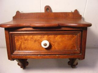 Antique Walnut Victorian Wall Shelf With Drawer photo