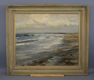 Vintage Harry Swanson Massachusetts Beach Seascape Oil Painting,  Emerson Rocks photo