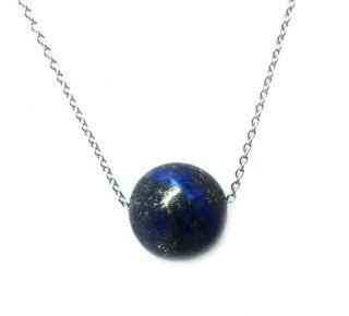 Natural 10 Mm Lapiz Lazuli 8k White Gold Turkish Jewelry Pendant photo