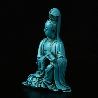 DELICATE CHINESE AMBER HAND CARVED BUDDISM GODNESS GUANYIN STATUE