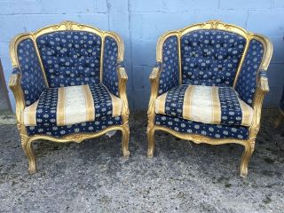 , Pair,  French,  Louis Xv Chairs,  Antique/vintage,  Button Back photo