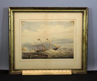 Antique 19thc Maritime Watercolor Painting Steamship Hm Fairy Royal Yacht photo