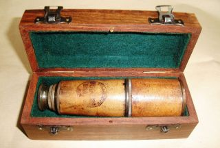 Leather Telescope Marine Nautical Antique Brass Pirate Spyglass Vintage Scope photo