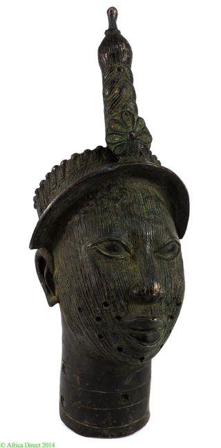 Ife Bronze Crowned Head Of Oni Yoruba Nigeria African Art Was $610.  00 photo