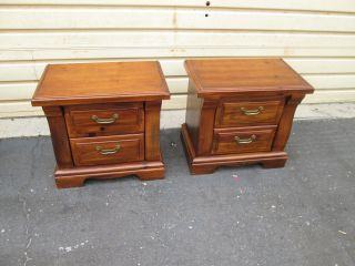 53639 Pair 2 Drawer Pine Nightstand End Tables photo
