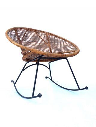 Vintage Wicker Rocker Rocking Chair Mid Century Modern Eames Patio Rattan Mod photo