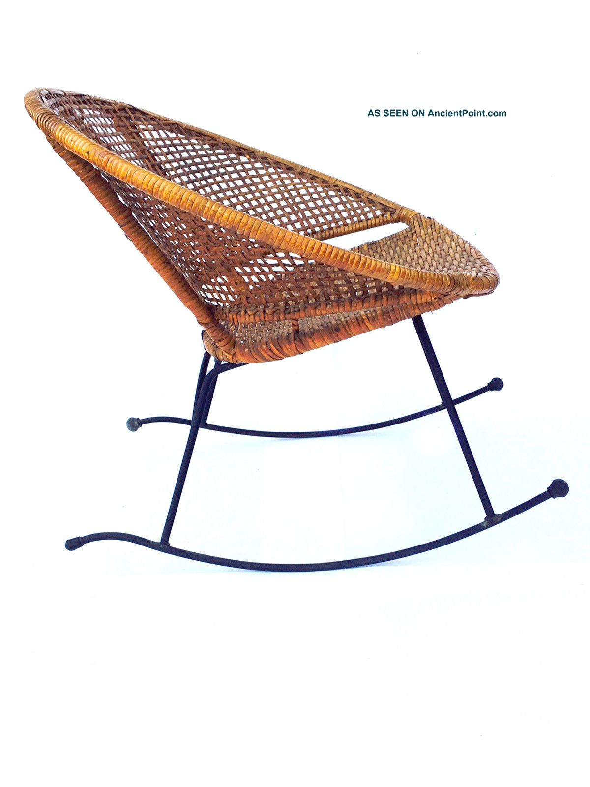 Vintage Wicker Rocker Rocking Chair Mid Century Modern Eames Patio ...