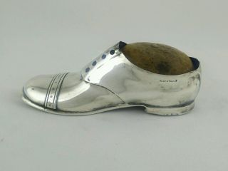 Antique Sterling Silver Figural Shoe Pin Cushion,  Blanckensee Birmingham 1909 photo