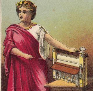 Davenport Ia Columbia Keystone Clothes Wringer Miss Liberty Old Advertising Card photo