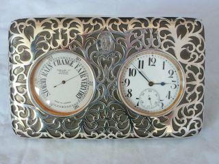 Victorian Silver Desk Clock Barometer London 1899 William Comyns Goliath Watch photo