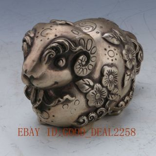 Chinese Silver Copper Handwork Hand - Carved Sheep Statue - - 三羊开泰 photo