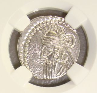 Ad 147 - 191 Parthian Kingdom Vologases Ancient Greek Silver Drachm Ngc Ms 4/5 3/5 photo