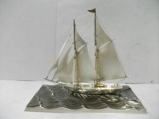 The Sailboat Of Silver985 Of Japan.  200g/ 7.  04oz.  Takehiko ' S Work. photo