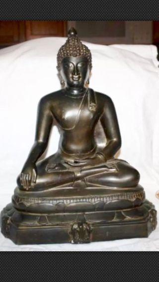 Old Chinese Tibetan Bronze Seated Buddha Figure Statue 15