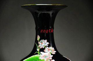 Black & Elegance Porcelain China Old Hand Painting Lotus Vase, photo
