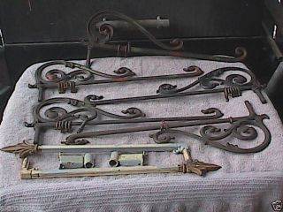 7 - Art Deco Metal & Cast Iron Swing - Out Curtain Rods. photo